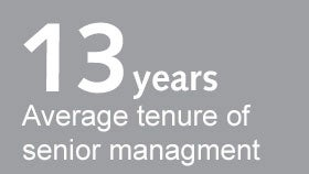 13 years average tenure of senior management
