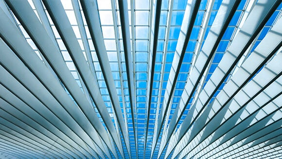 blue and grey ceiling of building